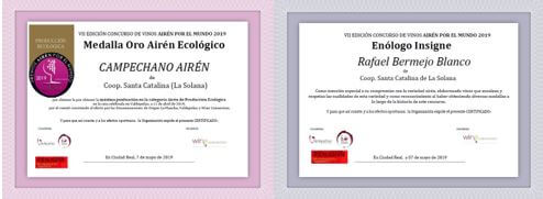 Gold medal for CAMPECHANO AIREN and winemaker insigne
